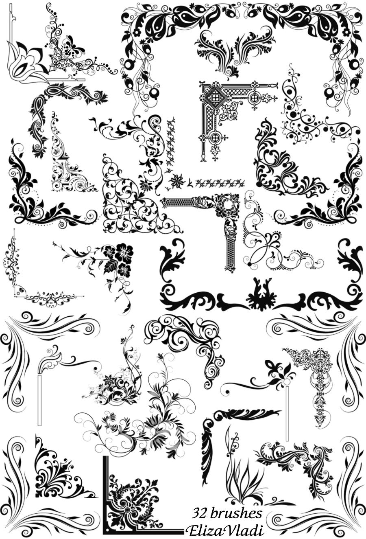 Free Brushes Abr Corners By Elizavladi Photoshop Prints Pattern
