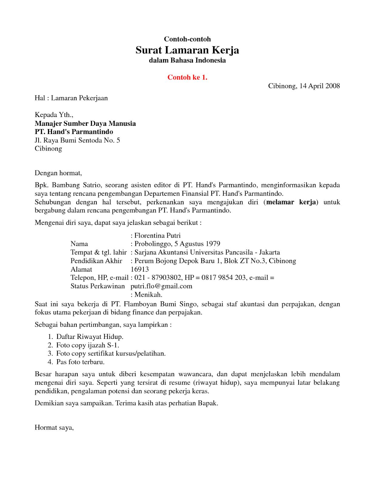 Contoh Surat Lamaran Mandiri di 2020 Surat, Pendidikan