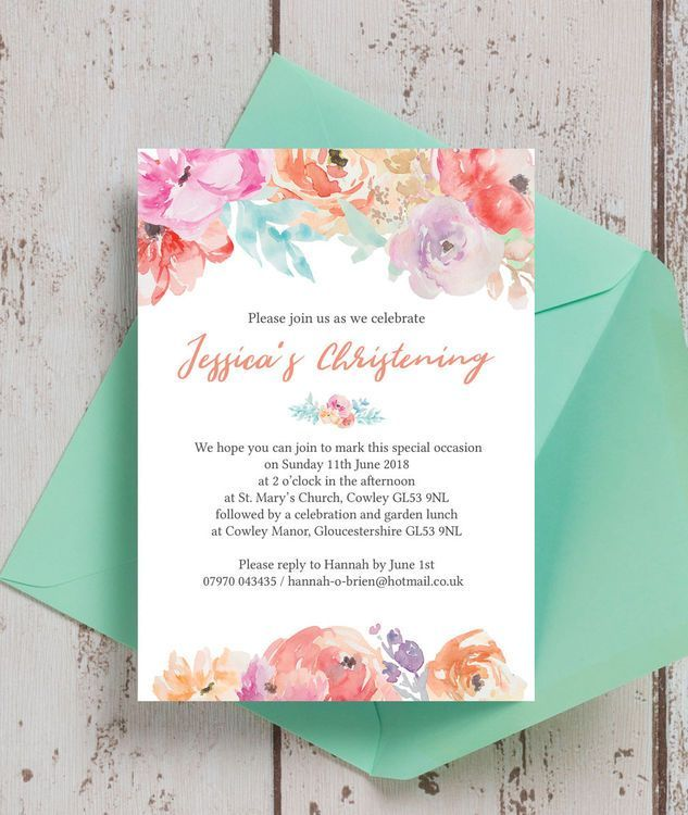 pastel floral personalised christening baptism invitations