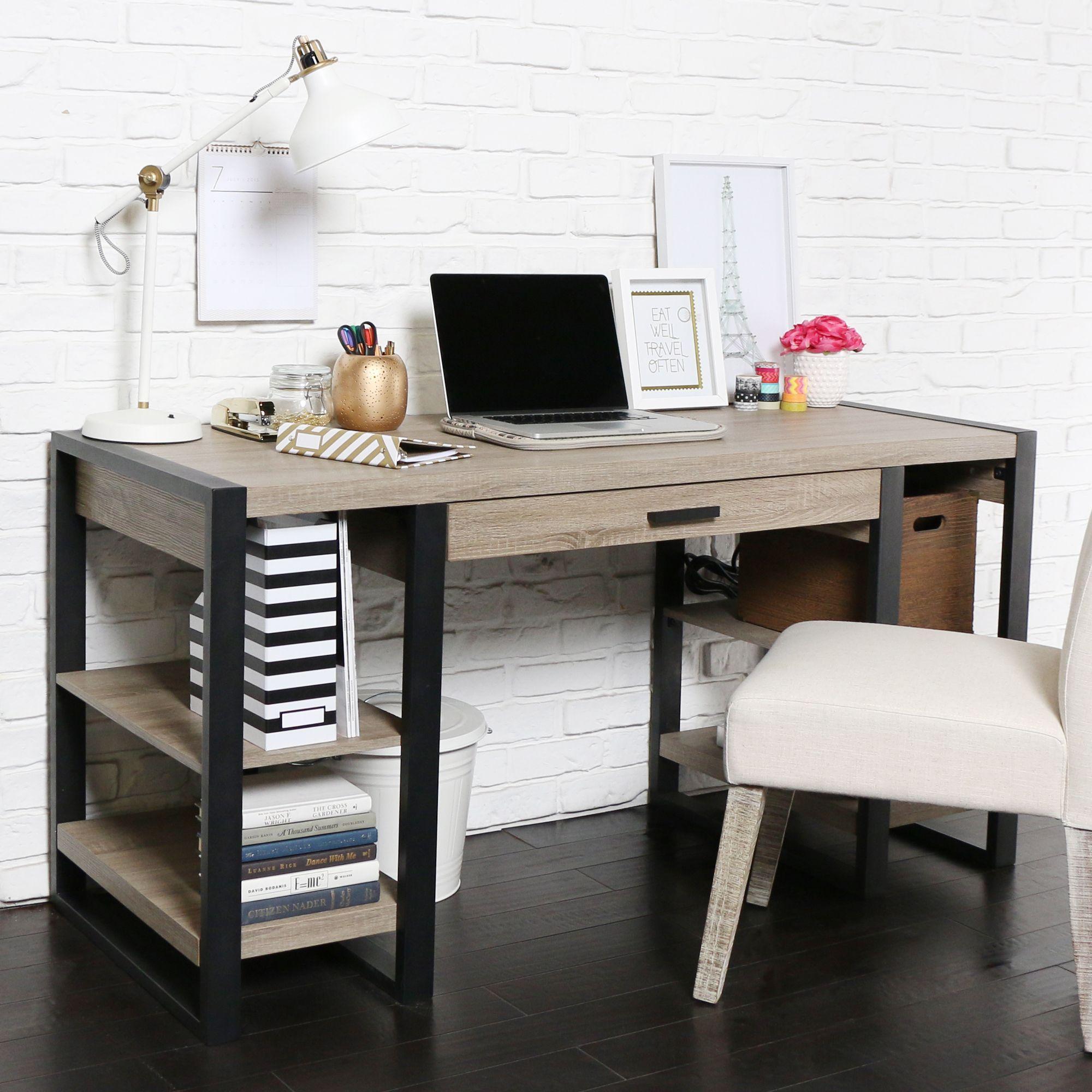60 Inch Driftwood Urban Blend Computer Storage Desk Home Office Furniture Home Office Storage Home Office Design