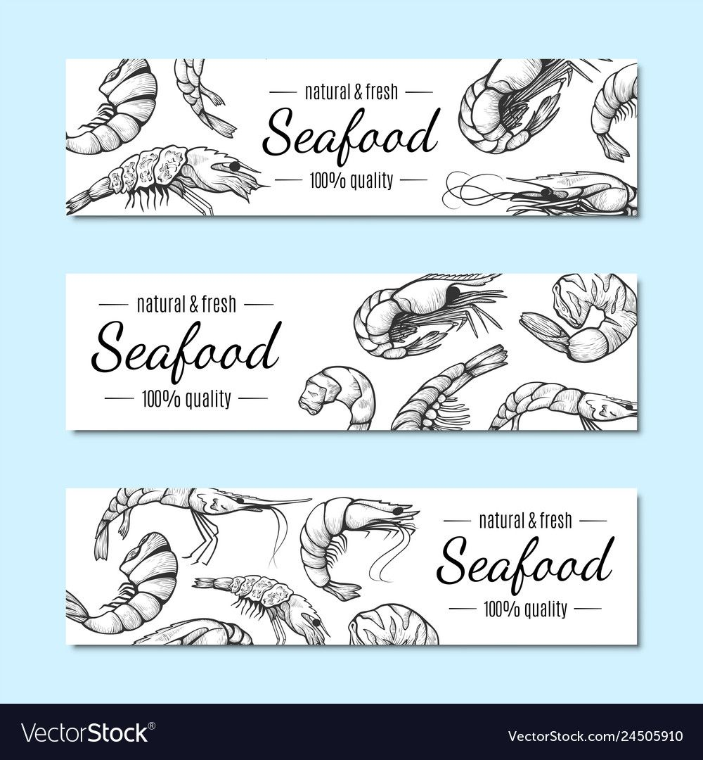 Shrimp banner seafood restaurant menu poster set Vector