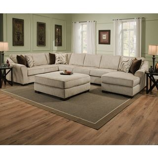 Simmons Upholstery Kingsley Beige Large Sectional And Ottoman Ping The Best Deals On Sofas