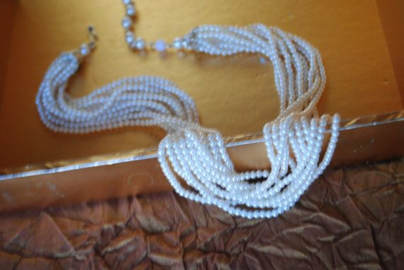 Classy vintage 60s white pearl beads 10  twisted strand  by VezaVe, $23.00