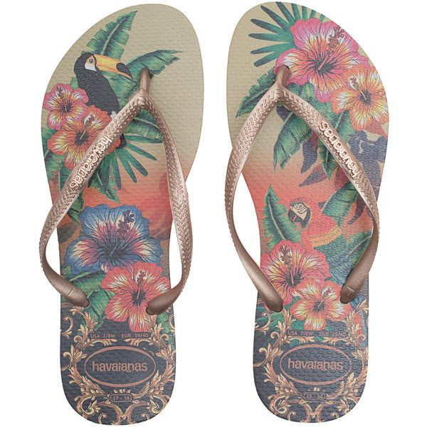 Slim Metallic Tropical Flip Flops JLMecY