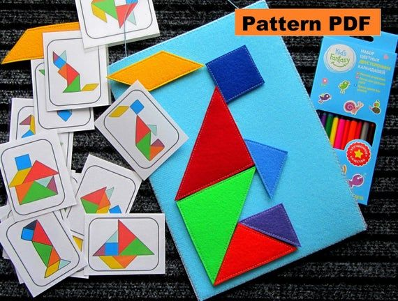 Felt Puzzle, Tangram Montessori Toy Pattern, Felt Pattern PDF Soft Toys Tangram Felt Toy Pattern PDF sewing patterns #felttoys