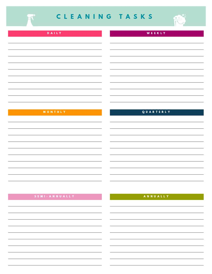 Blank Cleaning Schedule Template 2 Professional Templates Di 2020