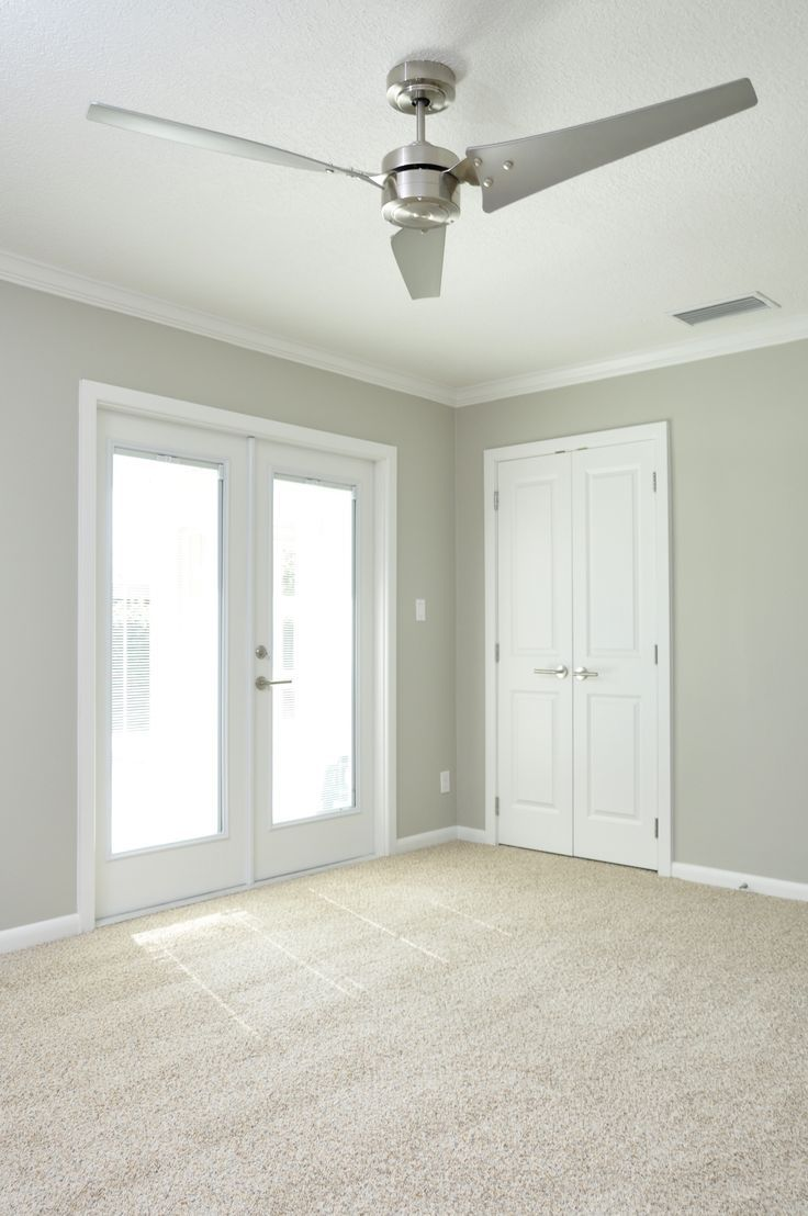 Bedroom Colors Neutral Shimmery Gray Walls With Clean White Trim Double French Doors Berber Carpet