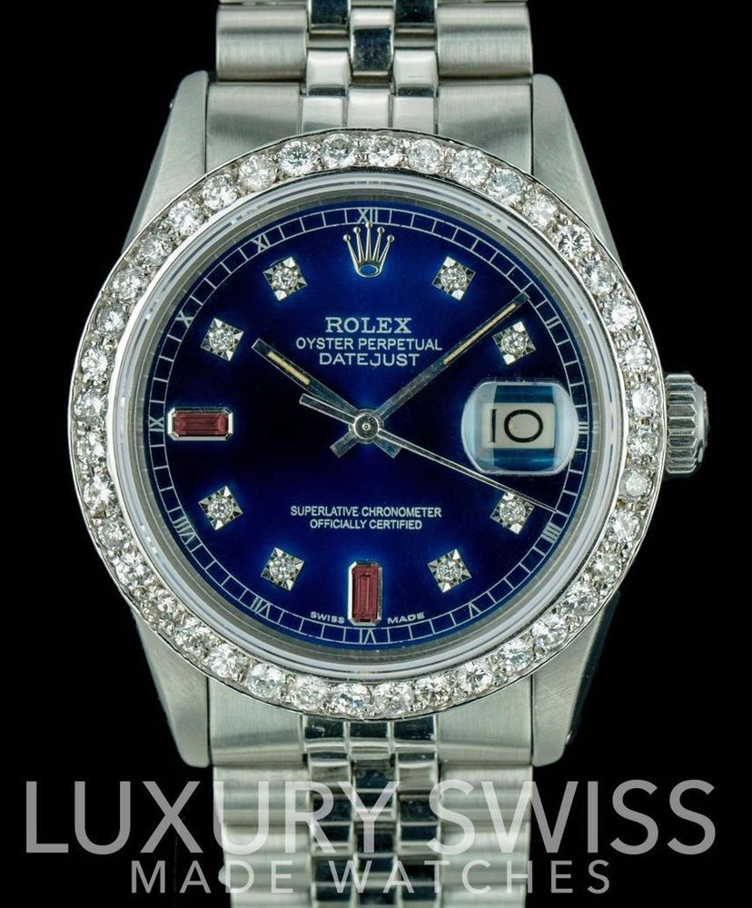Rolex Men\u0027s 36mm Datejust Stainless Steel Blue Dial with