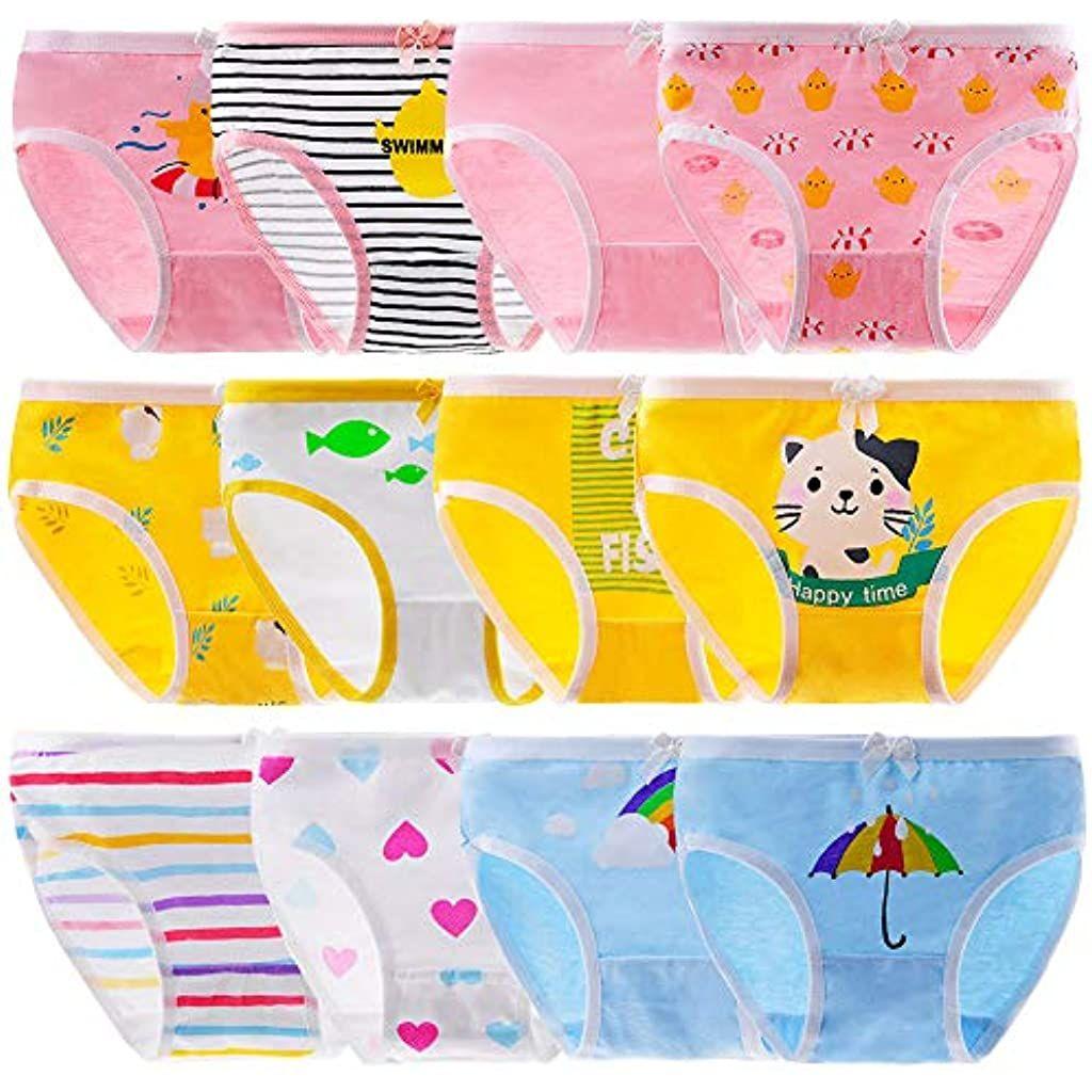 Anntry Bambine 12 Pezzi Slip Morbidi Bambini Confortevoli Biancheria Intima di Cotone Mutandine Assortiti 2-10 Anni