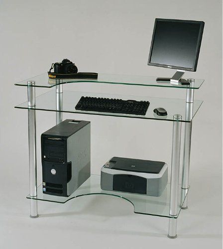 Glass And Aluminum Computer Desk Clear Glass And Aluminum 4 H X 27 D X 43 W By Rta Home And Office 284 Glass Computer Desks Modern Glass Desk Glass Desk