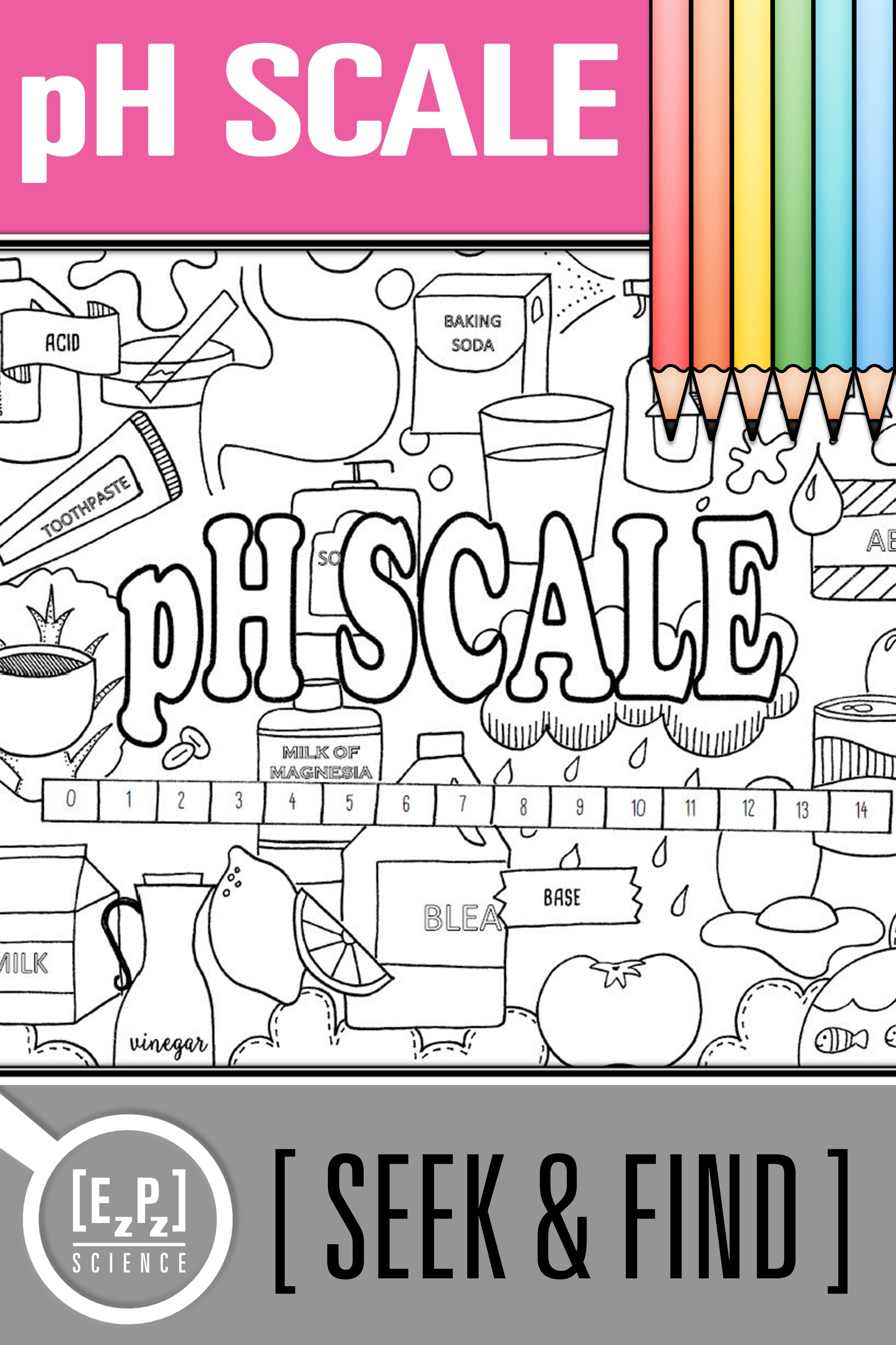 Ph Scale Acids Amp Bases Seek And Find Science Doodle Page