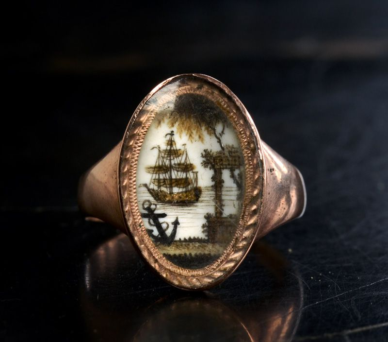 Late 1700s Mourning Ring, Miniature of Ship and Anchor, with Hair and Sepia Decoration