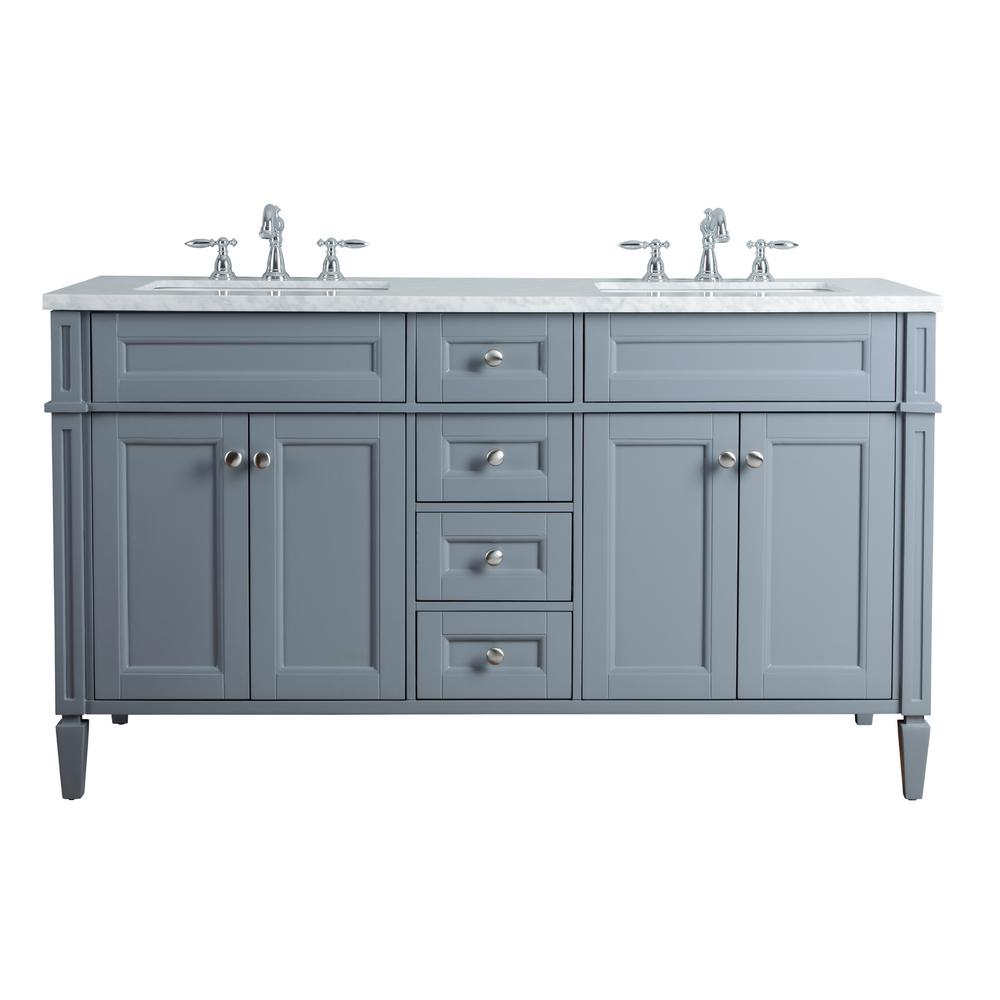 Stufurhome Anastasia French 60 In Grey Double Sink Bathroom Vanity With Marble Vanity Top And White Basin Hd 1524g 60 Cr The Home Depot Double Sink Bathroom Vanity Double Sink Vanity Bathroom Sink Vanity