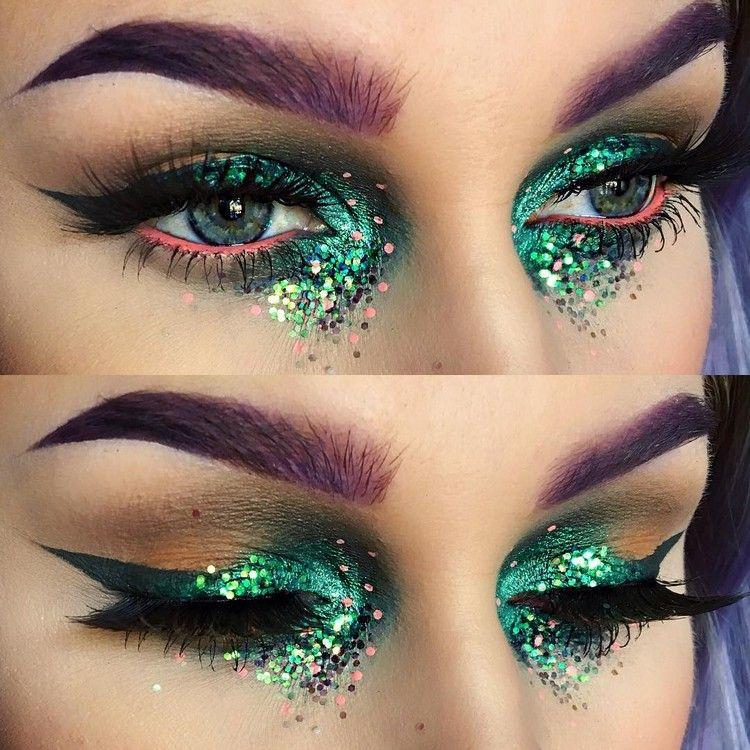 Fasching Schminken Augen Make Up Glitzer Augenbrauen Farben Hexe