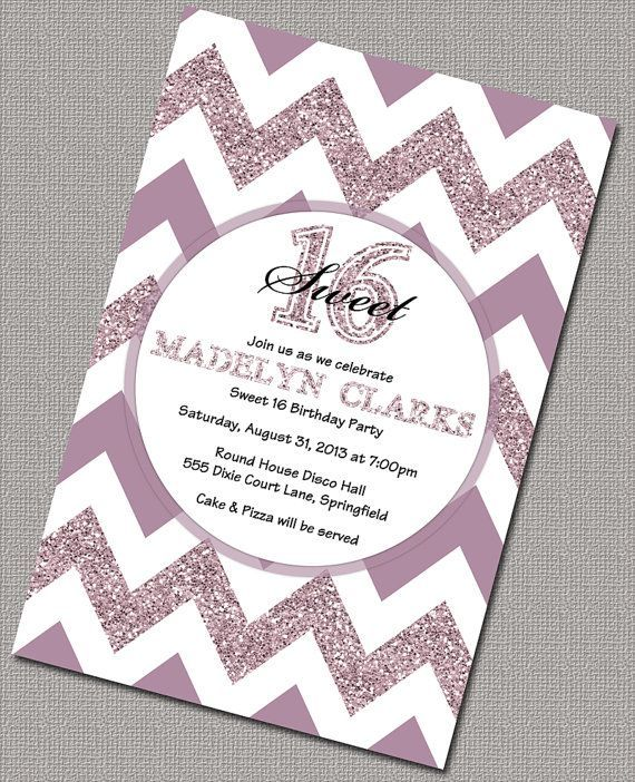 Custom wedding glass toasting glass wine glasses toasting flutes sparkly chevron 16th birthday invitations diy sweet sixteen birthday party invitations and matching party decorations solutioingenieria Images