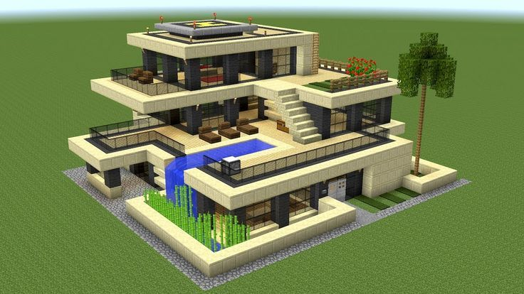 Minecraft - How to build a huge modern house 2 #minecrafthouses