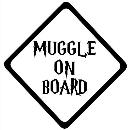 "Muggle Harry Potter Baby on board die cut funny vinyl decal car bumper sticker(4""x 4"")"