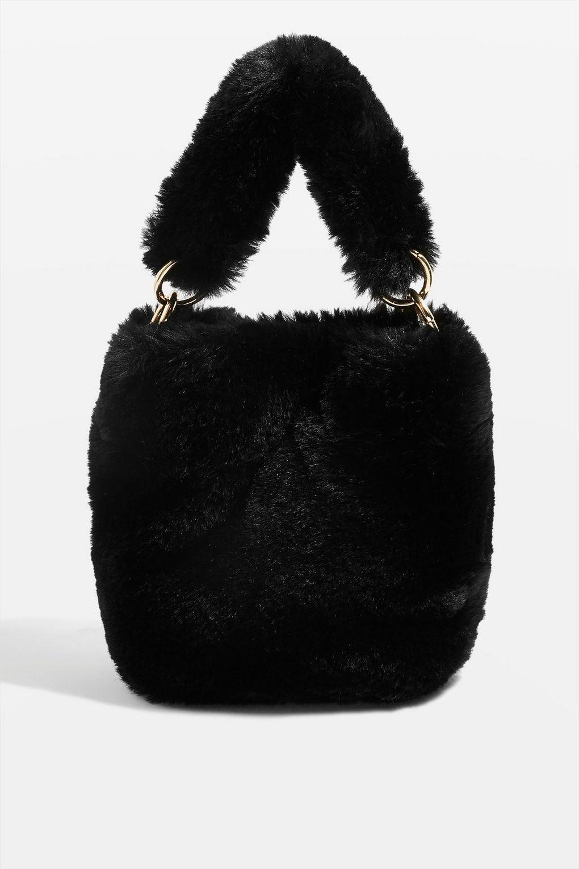 33319c1d2402 Teddy faux fur bucket bag in black.  TopshopStyle  HalloweenInspo  Bag   Topshop  Halloween  OutfitInspo