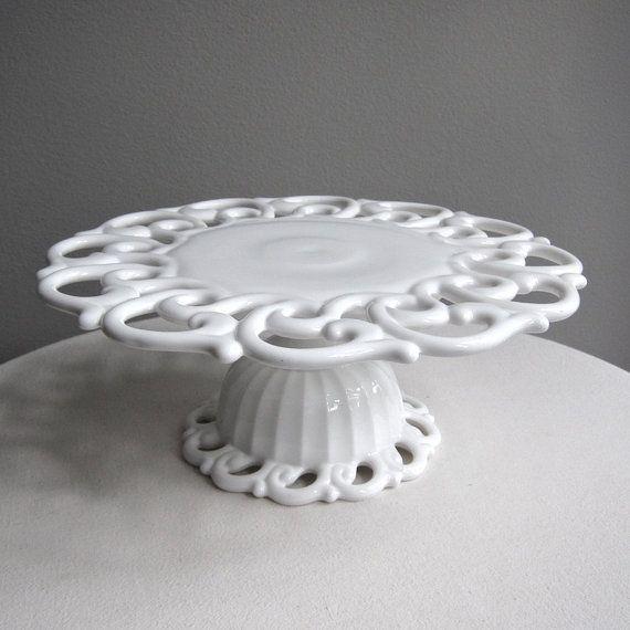 Vintage Milk Glass Cake Stand by Fostoria by BarkingSandsVintage, $135.00