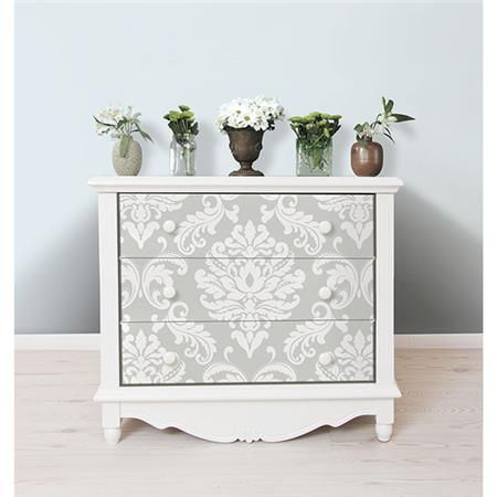 Super fun dresser makeover with removable wallpaper- Ariel Grey Peel