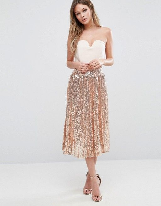 2dde1a313512 TFNC | TFNC Pleated Midi Skirt In All Over Sequin | My Style in 2019 ...
