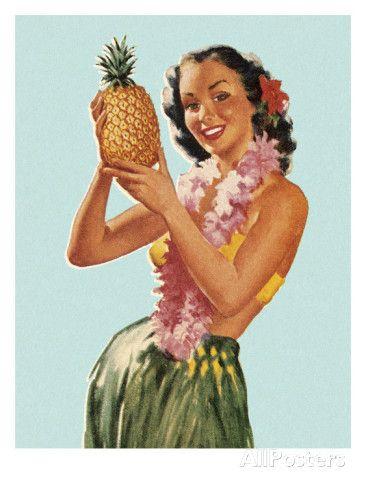 Hula Girl Holding Pineapple Kunsttrykk