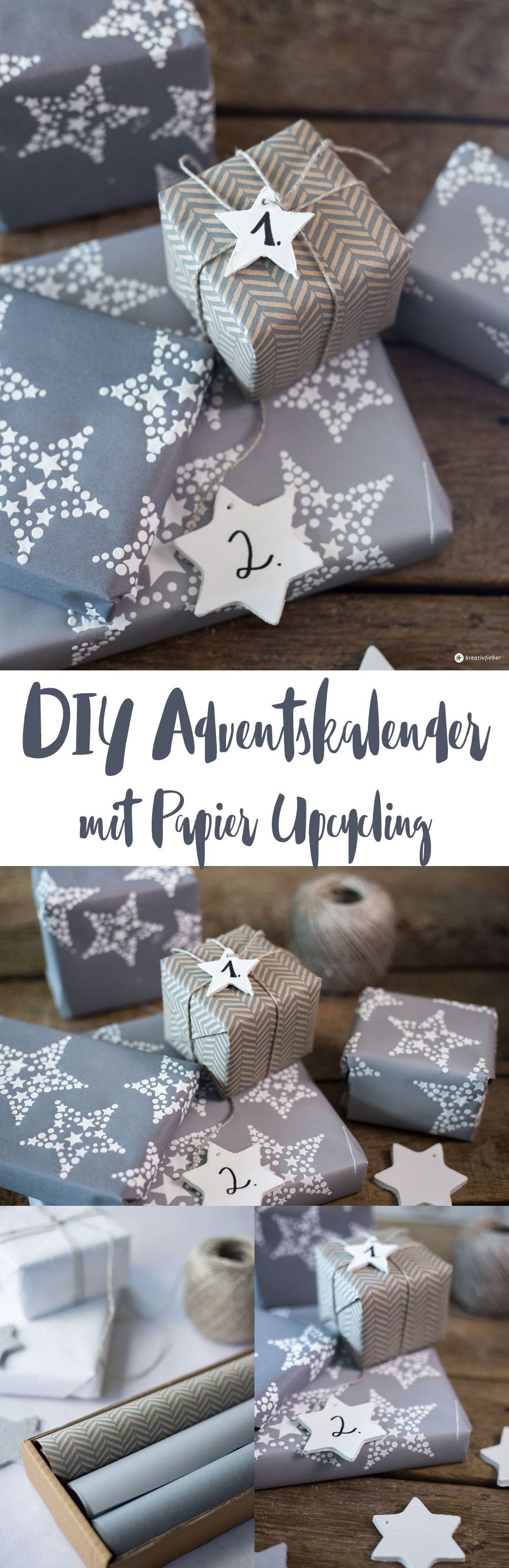 DIY Adventskalender Verpackung Papier Upcycling
