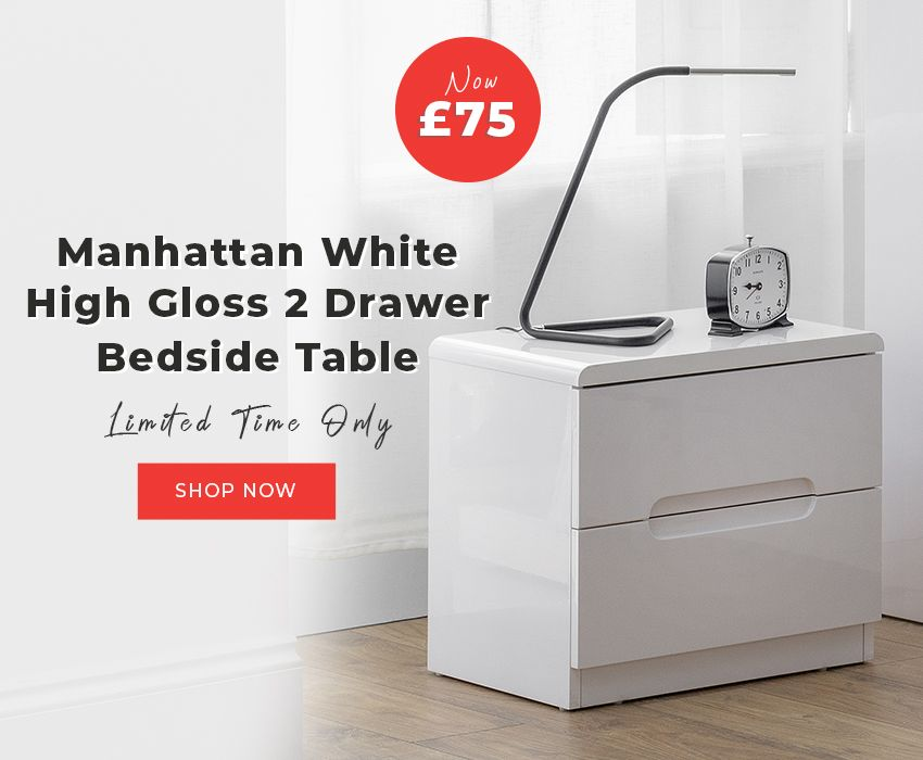Buy Julian Bowen Manhattan White High Gloss 2 Drawer Bedside Table