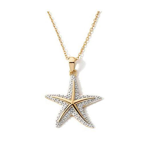 2-Tone Cubic Zirconia Starfish Necklace Pendant in 14k Gold