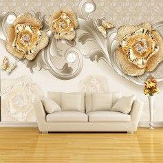 Vlies Fototapeten Wandtapeten 3d Exquisite Stil Rose Schmetterling Gold Kn 1135 Arte De Pared Murales Pared Revestimiento De Paredes