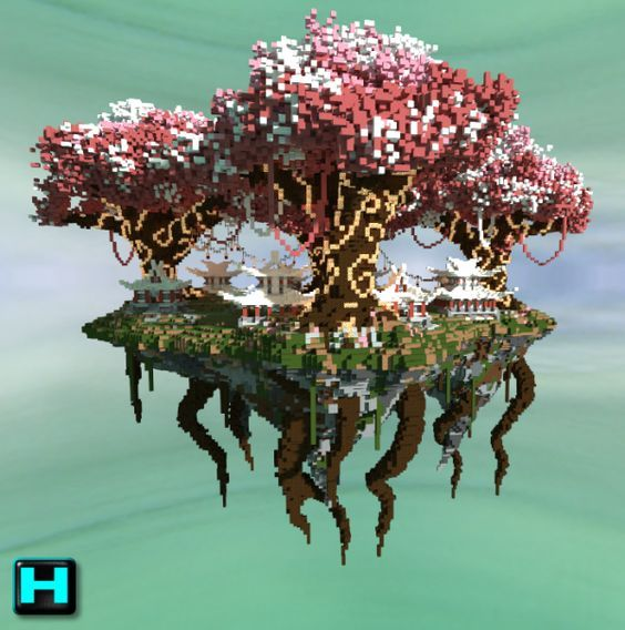 floating japanese sky city minecraft word puncher - Minecraft Japanese Tree