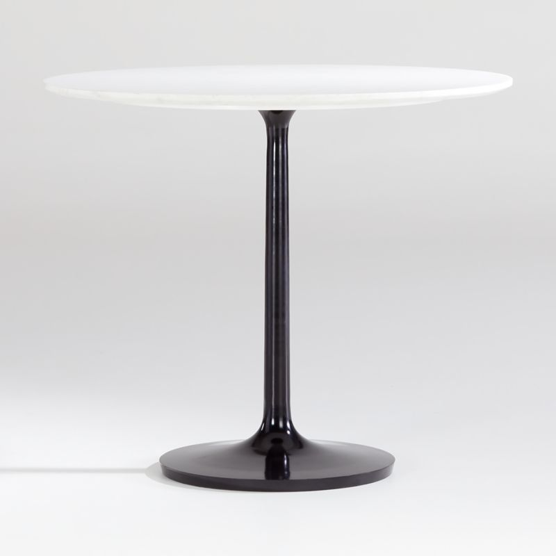 Nero 36 White Marble Dining Table With Bronze Base Crate And