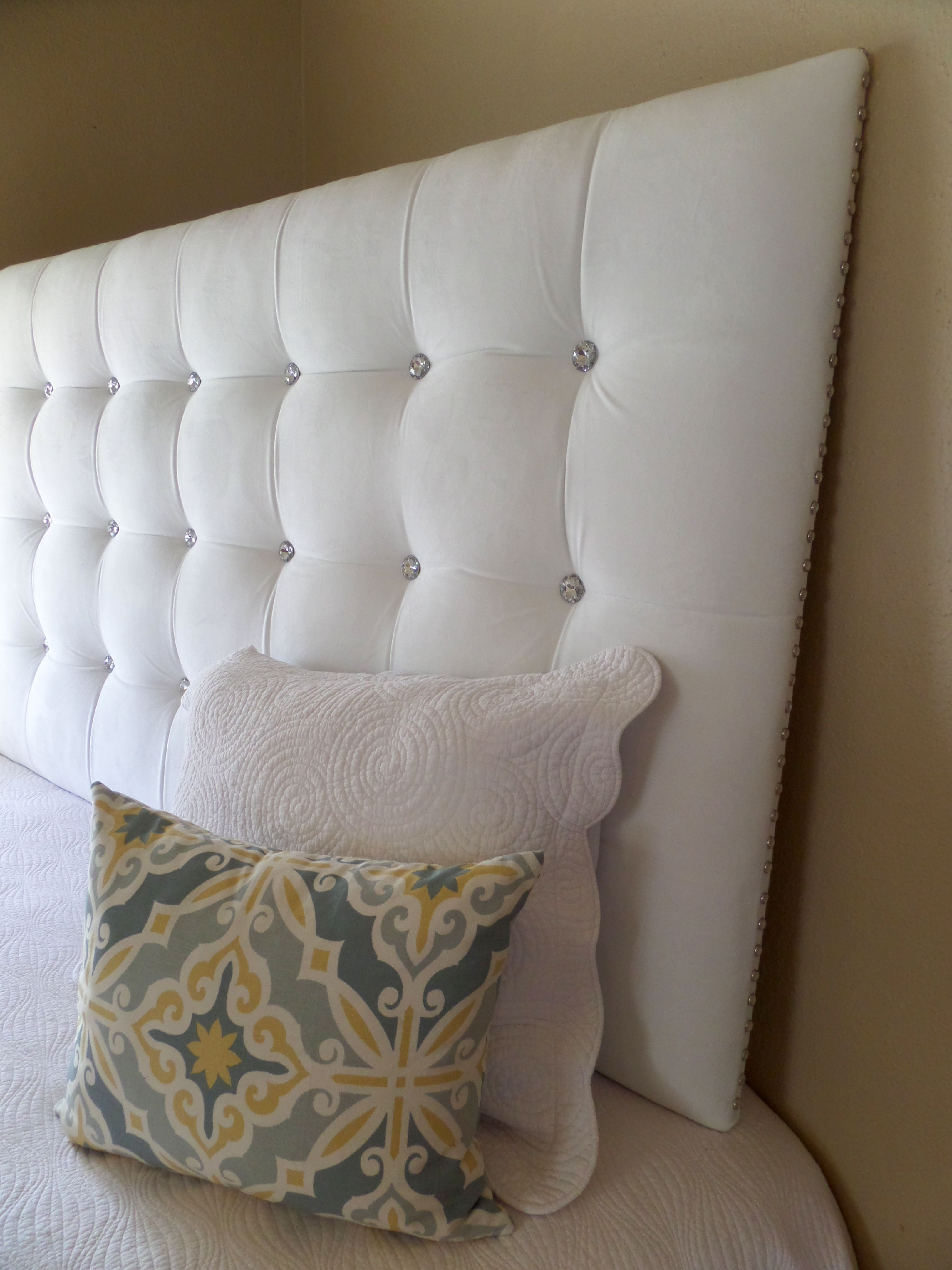 king sized extra tall white velvet tufted upholstered headboard with crystal buttons and crystal. Black Bedroom Furniture Sets. Home Design Ideas
