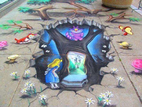 'Alice In Wonderland' 3D Street Art
