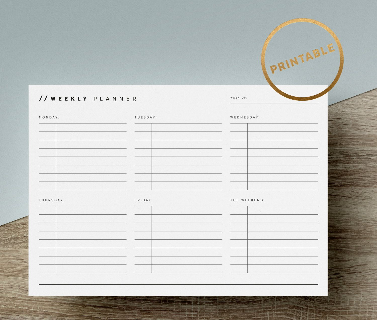 Weekly Planner Printable To Do List Weekly Task Overview