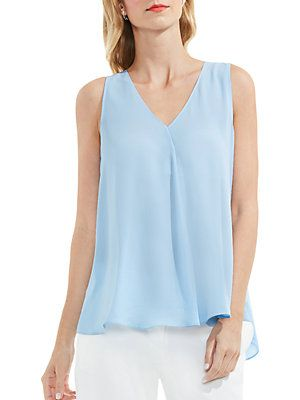 Vince Camuto Pee V Neck Drape Front Blouse In Light Cornflower Blue Sleeveless Top With Hi Lo Hem