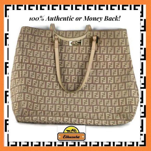 07f776159e45 Fendi Tote Bag Beige Canvas Shoulder Bag Satchel 100%AUTHENTIC OR %100  MONEY BACK