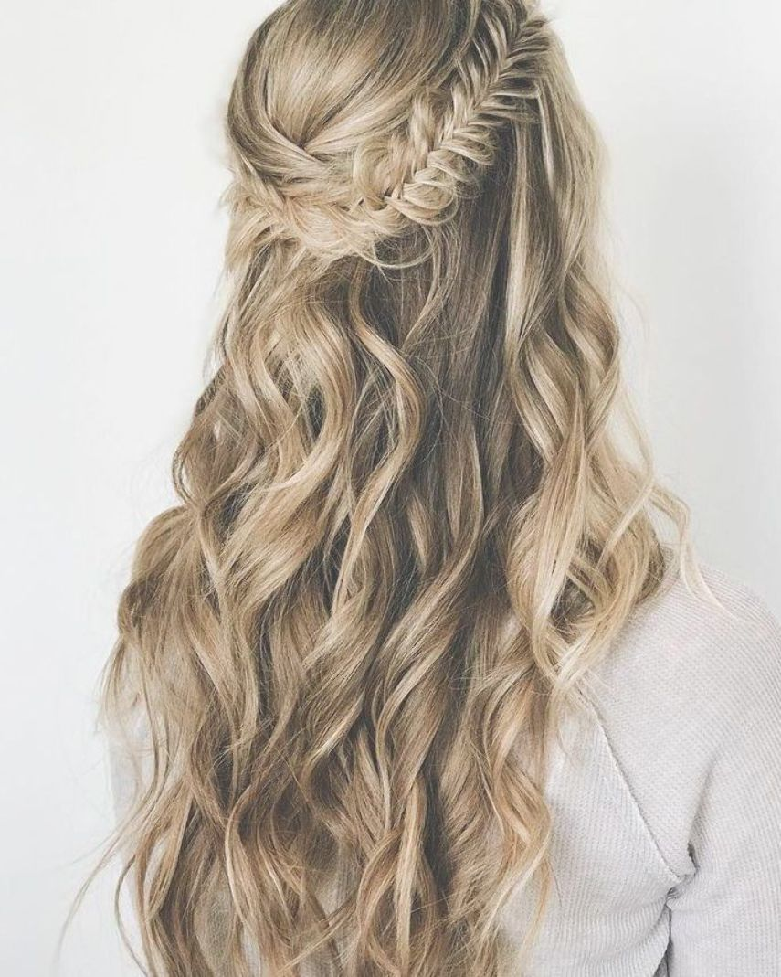 Half Up Boho Hairstyle With Fishtail Braid Waves Hair Styles Down Hairstyles Stylish Hair