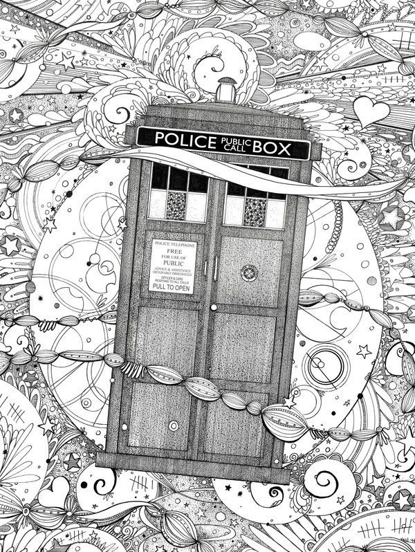 Doctor Who Coloring Page Dw Free Tardis