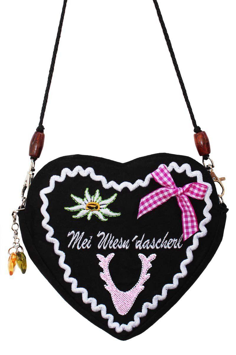 What a darling, cutely folksy heart shaped tracht purse. #purse #tracht #German #folk #costume #dirndl