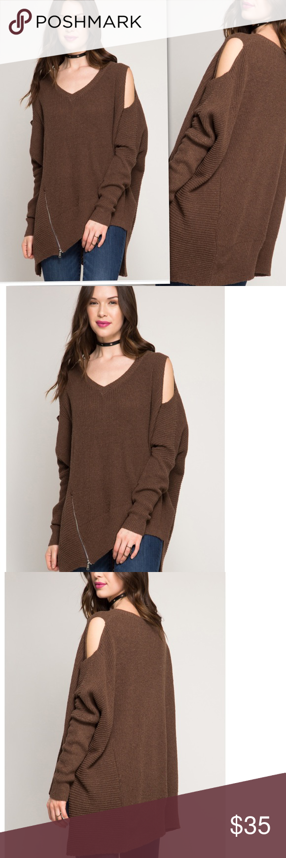 COMING SOON COLD SHOULDER SWEATER W/ FRONT ZIPPER LONG SLEEVE COLD SHOULDER SWEATER WITH FRONT ZIPPER DETAIL  S:60%COTTON 40%ACRYLIC KNIT SWEATER Sweaters