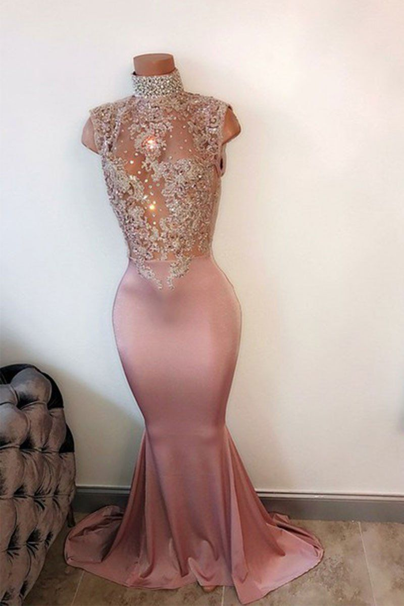 Pink high neck lace sequin mermaid long prom dress evening also best images in formal dresses overall rh pinterest