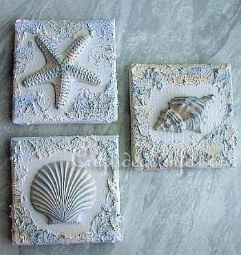 Seashells And Starfish Plaster Of Paris Wall Art Plaster Crafts Paris Crafts Shell Crafts