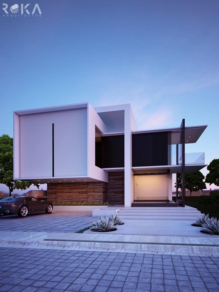 Casa de un solo piso presentamos una fachada que combina for Fachadas modernas para oficinas