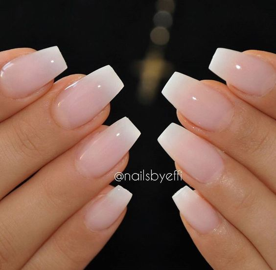 Glossy Pink To White Blend French Manicure Acrylic Nails Ombre Coffin