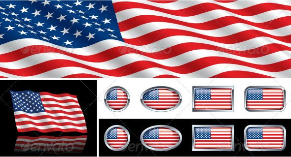 American USA Flag Collection  Vector EPS flapping graphic
