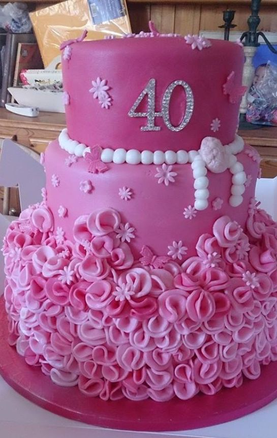 Pink Girly 40th Birthday Cake