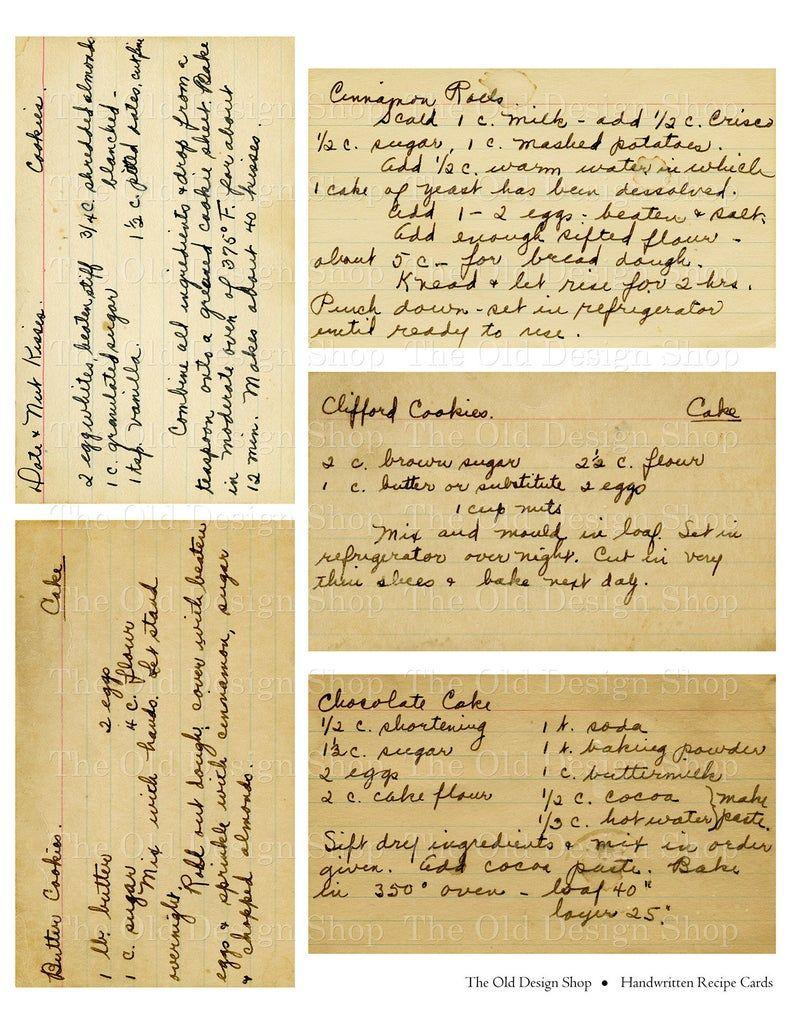 Handwritten Vintage Recipe Cards Printable Cake Co
