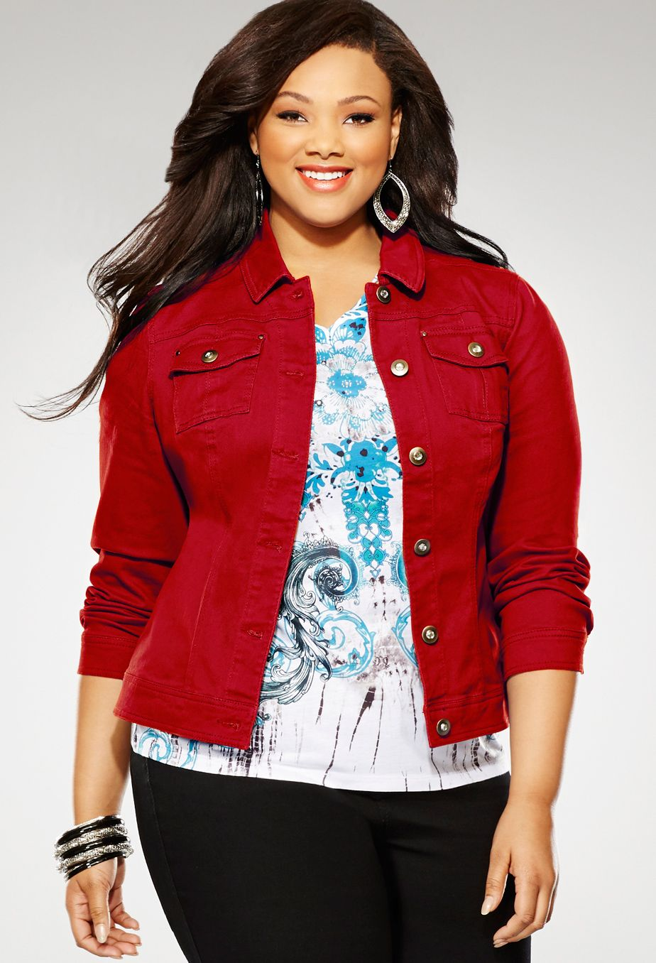 Plus Size Colored Woven Denim Jacket | Plus Size Jackets & Blazers ...
