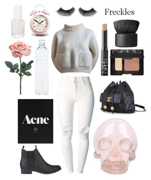 """White and nudes"" by odells ❤ liked on Polyvore featuring (+) PEOPLE, Alaïa, SPURR, Chanel, NARS Cosmetics, Horace, Essie and Newgate"